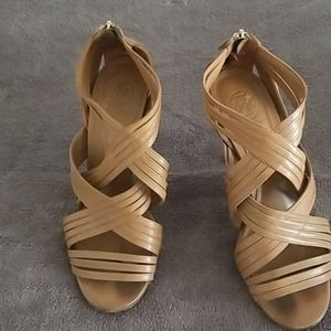Tory Burch tan leather strappy heels